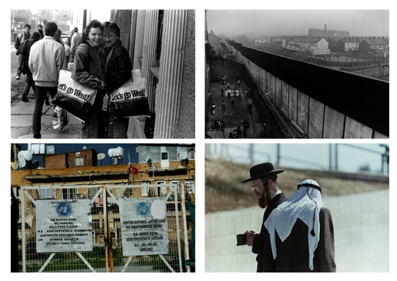 Images from the Divided Cities Project. Clockwise. Berlin November 1989, Belfast peace wall, 1986, Old City Jerusalem, 1990, Green line Nicosia, 2015